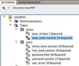 Dreamweaver Database Panel