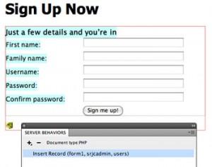 dreamweaver dynamic database form
