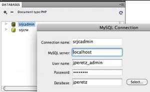 Dreamweaver SQL Connection window